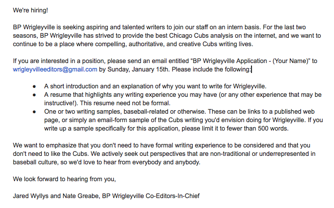 Wrigleyville Hiring Announcement