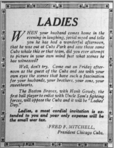 First Ladies Day Ad Tribune 1919